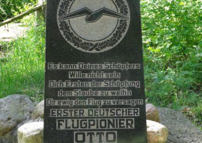 Erinnerung an der Absturzstelle Lilienthal's